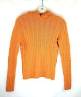 J Crew Womens Medium Orange Wool Cashmere Blend Cable Knit Hooded Sweater