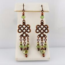 Boho Antiqued Copper Celtic Knot Chandelier earrings w/ green crystals