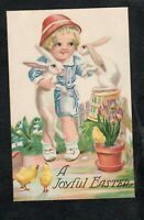 A248 Antique Postcard  Easter Cute Boy with white rabbits and tulips, chicks