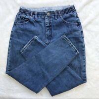 Vintage Lee Blue Denim Size 10P Womens MOM Jeans High Rise Tapered Elastic Waist