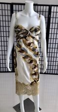 ROBERTO CAVALLI Gold Chain Print Silk Satin Bustier dress 42.SALE !!!