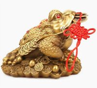 Lucky Chinese Brass Feng Shui Money Wealth Frog Three Legged Toad Statue Gift