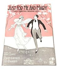 "Vintage ""Just For Me And Mary"" Sheet Music Dated 1919"
