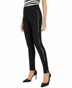 INC Womens Pants Black Size 6 Side Sequin Stripe Pull-On Jegging Stretch $69 354
