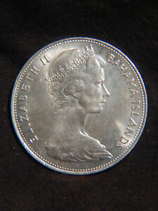 Bahamas 1966 $5 STERLING SILVER Coin 925/1000 Excellent & Big Stack Or Collect 7