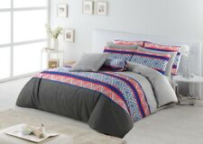 Queen Size Cotton Reversible Doona Duvet Quilt Cover Set With Pillowcases