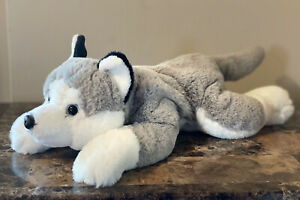 "FAO Schwarz Adopt-A-Pet Toy Plush Husky Dog Wolf Laying White Gray 16"""