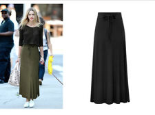 Womens Gypsy Long Jersey Bodycon Maxi Dress Skirt Plain Flared Skirt Size 6-20