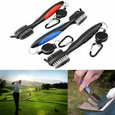 2 Sided Golf Club Brush Groove Cleaner With Retractable Reel Cleaning Tool New