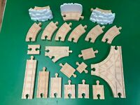Snowy Train Track Bundle Adapter Switch T THOMAS & FRIENDS WOODEN RAILWAY 21 pcs