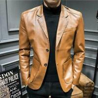Men's Wedding Casual Formal Dress Blazer Leather Jacket Coat Business Slim Fit