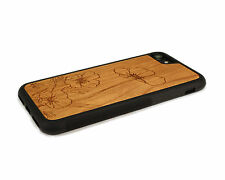Handcrafted Wood iPhone 7 Case with Soft Rubber Sides by Nuwoods Poppy Flowers