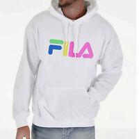 Men's FILA Technicolor Logo Hoodie sweatshirt WHITE with Colorful logo  -