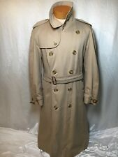 VTG heritage BURBERRY Trench Coat Double Breasted Jacket Khaki Tan XL Genuine