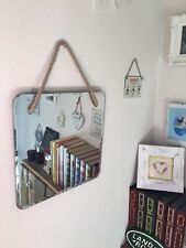 Modern Vintage/Retro Style Square Rope Hanging Bevelled Edge Mirror (299)