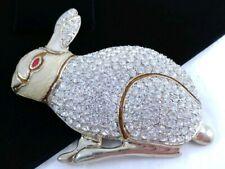 "Rabbit Cream Enamel Rhinestone Brooch Pin (W) 3 5/8"" Massive Easter Bunny"