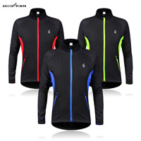 Men's Long Sleeve Cycling Jacket Thermal Fleece Windproof Full Zip MTB Bike Coat