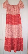 Vtg Womens Prairie Country Boho Festival Dress 70's Red Flowers Floral Size S M