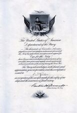 "WW I ""Eyes for the Navy"" Binocular Donation Cert. - Franklin Roosevelt signed"