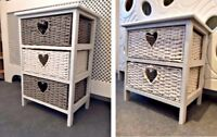 Grey White Storage Unit 2 3 Drawer Wicker Basket Bedside Table Chest Cabinet