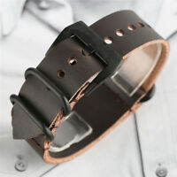 20/22mm Black/Brown Soft Genuine Leather Band Strap Watch Band + 2 Spring bars