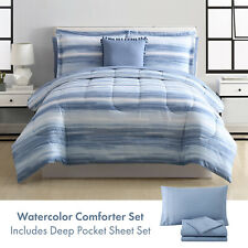 Twin, Full/Queen or King Watercolor Comforter & Deep Pocket Sheet Bed Set, Blue
