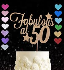 Gold 50 and fabulous fifty glitter cake topper birthday fiftieth 50s party