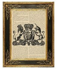 Unicorn & Lion Crest Art Print on Vintage Book Page Royal Nursery Decor Gifts