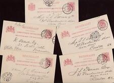 NETHERLANDS 1901-04 FU STATIONERY to LONDON...5 CARDS