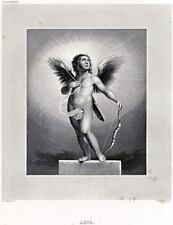 CUPIDO, Dio dell'Amore, con Arco e Freccia.ACCIAIO.PASSEPARTOUT.CERTIFICATO.1850