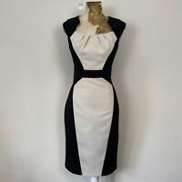Dorothy Perkins Dress 8 Black Cream Pencil Shift Fitted Panel Pindot Career Work