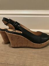 Sofft 7 Black Leather Slingback Wedge