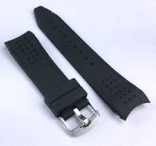 24mm BLACK Silicone Rubber Band WATCH Strap with CURVED Ends