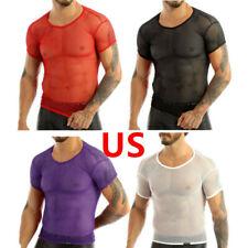 US Men's Mesh T-shirt Gym Training Tank Tops Fish Net Tee Shirts Sports Clothing
