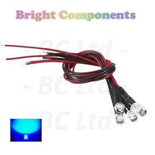 5 x Pre-Wired Blue LED 5mm Flat Top : 9V ~ 12V : 1st CLASS POST
