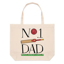 No.1 Papá Cricket Lino Grande Bolso Playa Bolsas - Divertido Padre Día Sport