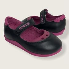 Crocs Toddler Girls Size C 4 Mackenzie Mary Jane Shoes Black And Berry Pink