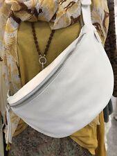 Echt Leder Cross Body Bag bolsillo pecho riñonera Weiss mantos bolsa nuevo