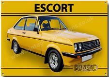 ESCORT RS2000 METAL SIGN.VINTAGE BRITISH CAR METAL SIGN.CLASSIC  BRITISH CARS.