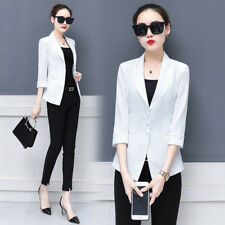 Summer New Arrival Fitted Solid Ladies Blazers - White