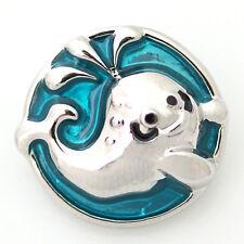 1 PC 18MM Blue Whale Nautical Enamel Silver Candy Snap Charm ds5028 CC1147