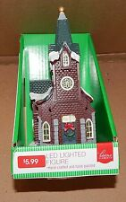 """Lighted Building Christmas LED Church 4"""" x 6"""" Village Scene Home Elements 95M"""