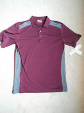 Men's Grand Slam Golf Polo Shirt Easy Big & Tall Care Size Large T Fig Burgundy