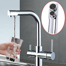 3 Way Double Handle Kitchen Basin Sink Mixer Tap Pure Water Spout Filter Faucet