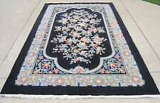 "Antique Chinese Black Art Deco Fetti Floral Oriental Rug Carpet 71x108"" or 6x9'"