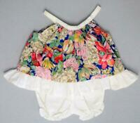 VTG Tropical Ruffle Open Back Pinafore with Bloomers Outfit 12-18 months