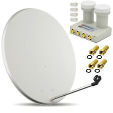 HDTV HD Digitale SAT Anlage 80 cm Spiegel + Monoblock Quad LNB 0,1 dB Opticum