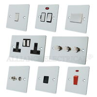 Full Range Polished Chrome Flat Sockets Switches Dimmers White Ins Metal Rocker