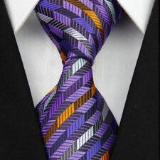 SALE Mens Tie Lilac Purple Grey Silver&Orange in Stripes Wedding Necktie ET11