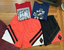 Lot 2 Nike Air Jordan Legacy Retro 6 Infrared Nylon Shorts & 2 Shirts Men's 3XL
